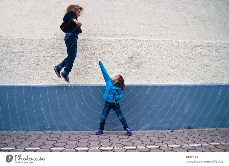 Human being Child Blue White Girl Joy Feminine Playing Boy (child) Jump Flying Masculine Infancy Power Might Anger