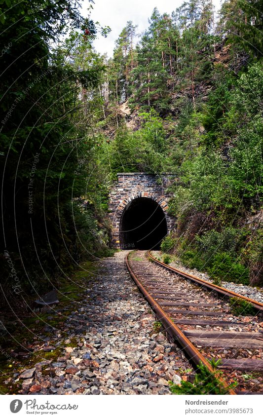 Tunnel portal on a disused railway line in the Thuringian Forest rails track Railroad Track decommissioned Decommissioning railway tunnel Transport