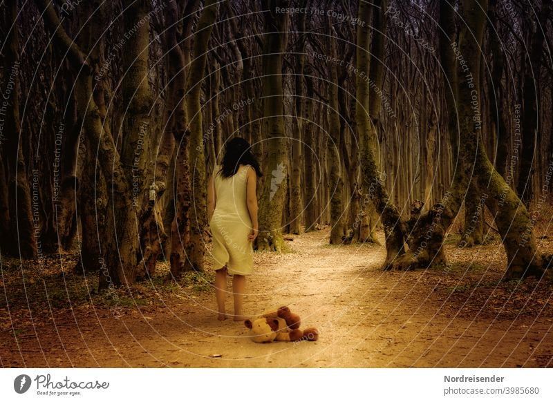 What lurks in the dark and the unknown Woman Forest surreal Ghost forest Fear teddy trees Ghosts forest path gnarled on one's own depression burnout Barefoot