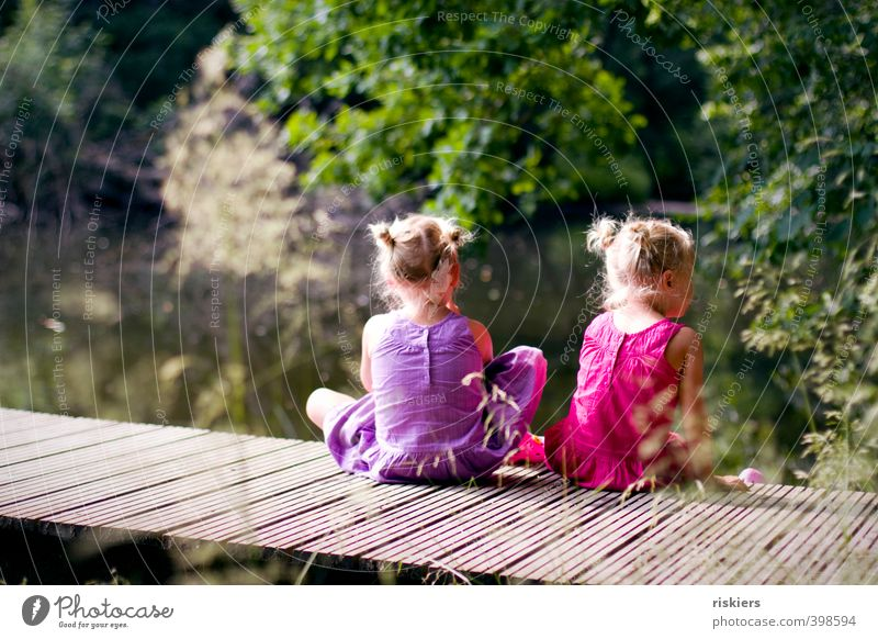 Two alone Feminine Child Girl Brothers and sisters Sister Infancy 2 Human being 3 - 8 years Environment Nature Summer Beautiful weather Park Forest Lake Observe