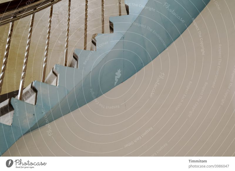 Up the lighthouse step by step Stairs Winding staircase stair treads rail handrail Wood Metal Blue Tall Interior shot Lighthouse up Curved lines