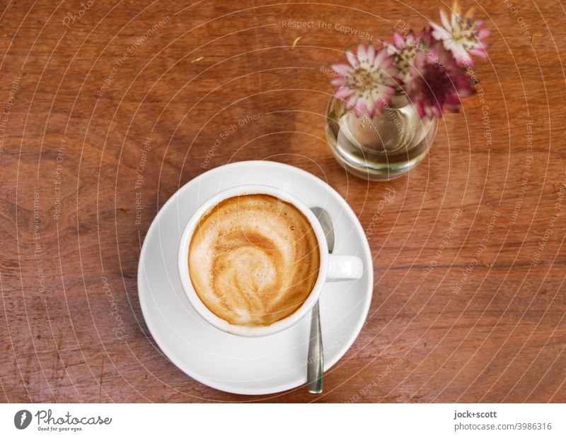 Coffee picture with flowers before drink and taste Cup Coffee cup Coffee break Hot drink Café To have a coffee Tabletop Flower vase cut flower Wood grain