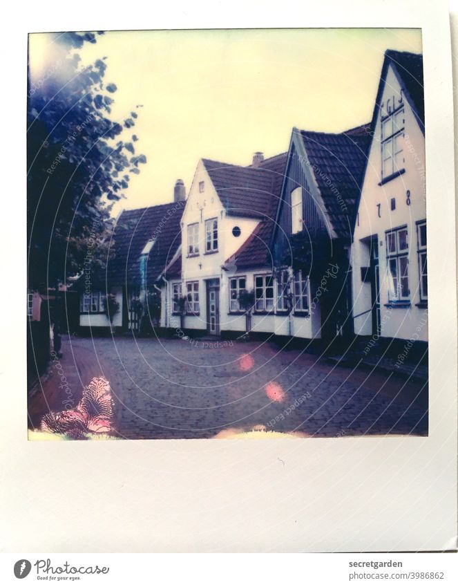 picturesque. Architecture Village Village idyll Village road Village square Historic Historic Buildings Germany cute Polaroid Analog Error Point of light