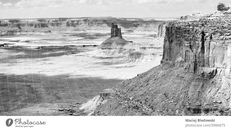 Black and white panorama of Canyonlands National Park, Utah, USA. america landscape canyon valley desert erosion nature canyonlands utah rock mountain usa