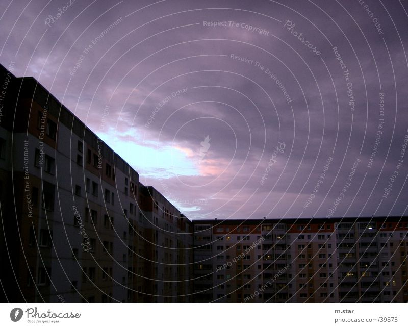 Clouds Berlin Bright Architecture Lightning Thunder and lightning Ghetto Bad weather Residential area