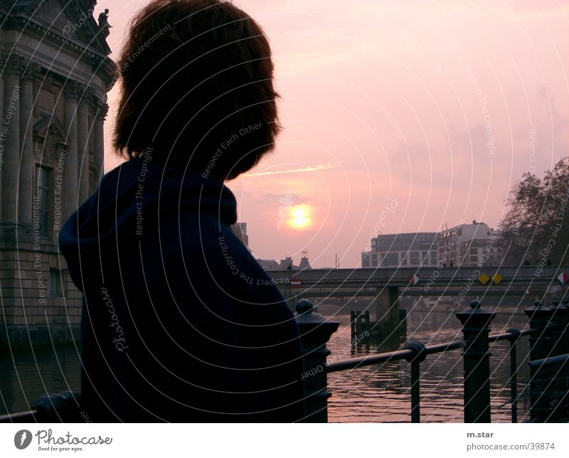 Longing - Sun Evening Sunset Spree Woman Bridge Dusk asturias Berlin