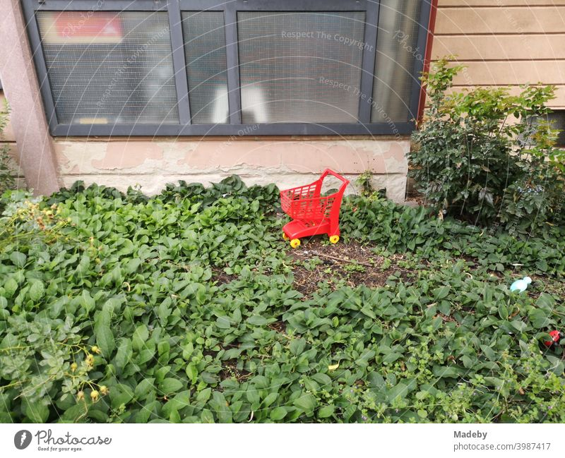 Red shopping trolley in bright red with yellow wheels for children in the green front garden of a kindergarten in the West End of Frankfurt am Main in the German state of Hesse