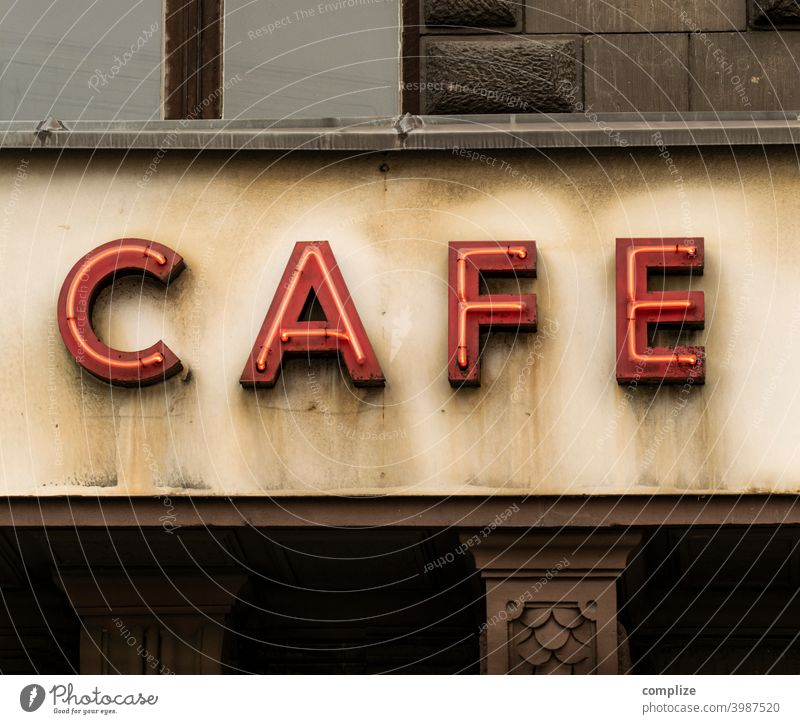 C A F E - Neon Sign Letters Café Neon light neon Neon sign Facade writing Coffee Gastronomy '60s 70s Retro vintage House (Residential Structure)