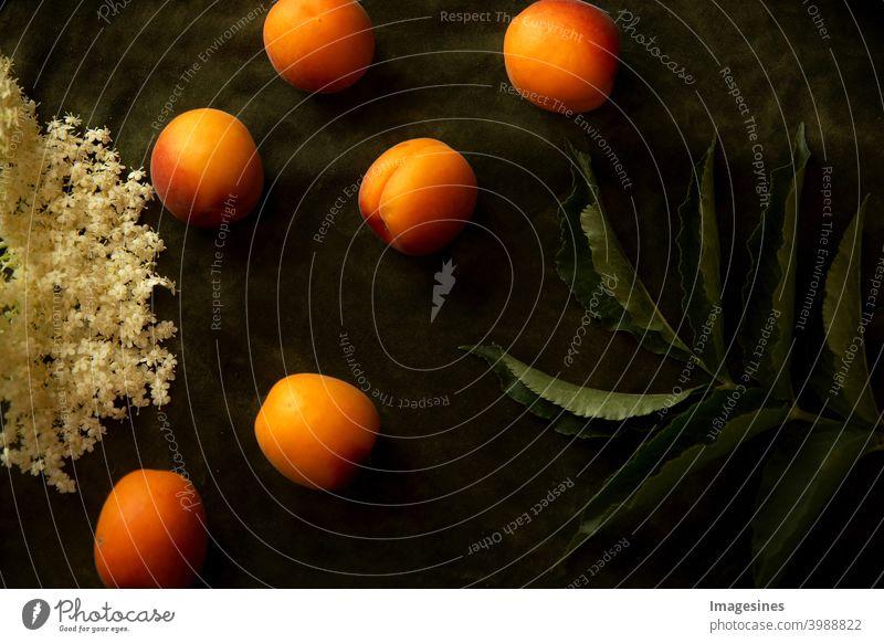 Food Photography. Nostalgic food art on dark background. Nectarines, peaches, elderberry leaves and flowers food photography nostalgically Art Dark nectarines