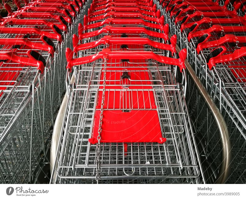 Lined up shopping trolleys made of shiny wire with red plastic in front of a new supermarket in Bielefeld in the Teutoburg Forest in East Westphalia-Lippe