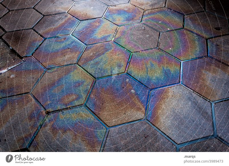 Oil patch Oil slick Cooking oil Dirty Environmental pollution Gasoline Waste oil Diesel Ecological Poison Chemicals Fluid Rainbow Patch Industry Fuel