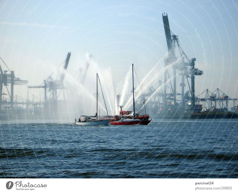 fire-fighting boat Watercraft Crane Dock Erase Accompany Water fountain Euphoria Industry Fire department River Elbe Harbour Welcome Hamburg Inject Joy