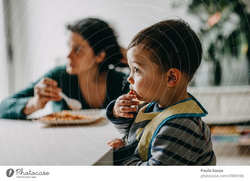 Mother feeding child at home motherhood Child 1 - 3 years Life Lifestyle Together togetherness people care Happiness Family & Relations Happy Caucasian Infancy