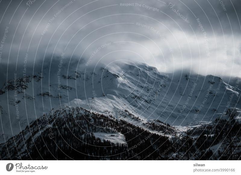 foggy peaks Snow Winter Frozen Cold Rock rocky winter frozen ground chill tightrope walk Mountain mountains