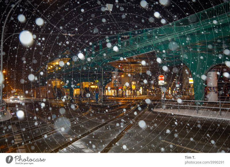 Corner Schönhauser Allee in winter Prenzlauer Berg Night Snowfall Colour photo Berlin Train station U2 Mono rail Exterior shot Town Capital city Old town
