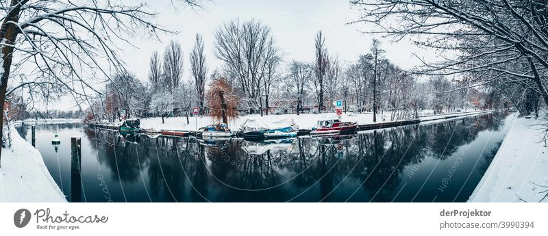 Winter Landwehrkanal with boats Natural phenomenon peril collapse City trip Sightseeing Miracle of Nature Frozen Frost Ice Experiencing nature Vacation & Travel