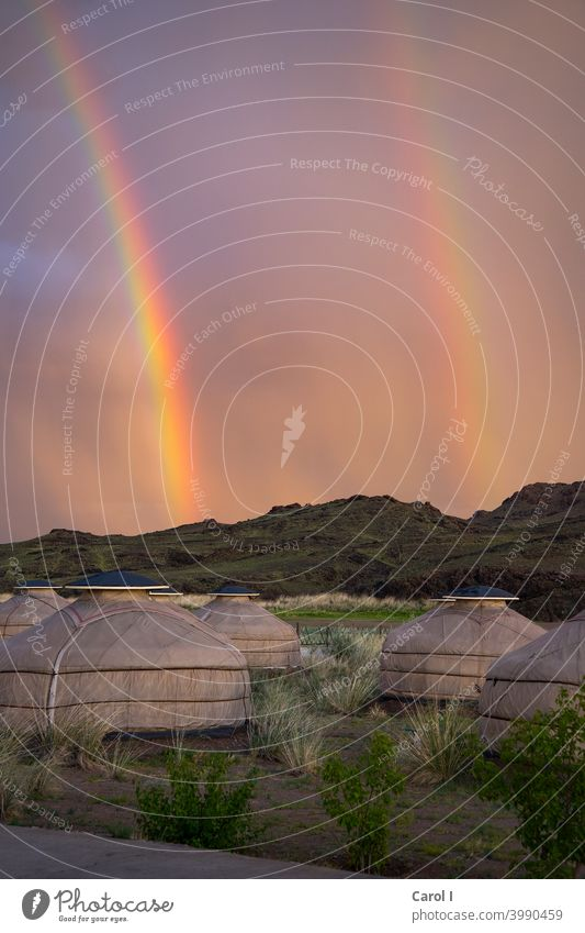 "double rainbows over Mongolia Rainbow yurt holidays Nature Landscape Summer natural spectacle pink Yurt village"" Deserted Sky Copy Space top"