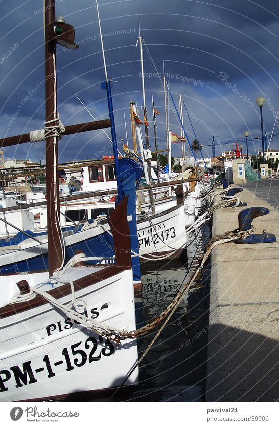 Sky Dark Watercraft Moody Europe Harbour Thunder and lightning Majorca Spain