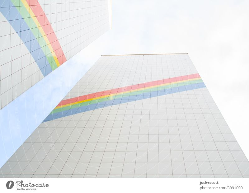 Illusion of a rainbow on a renovated prefabricated building Facade Decoration Rainbow Cladding Sky Stripe Positive Symmetry Structures and shapes Inspiration