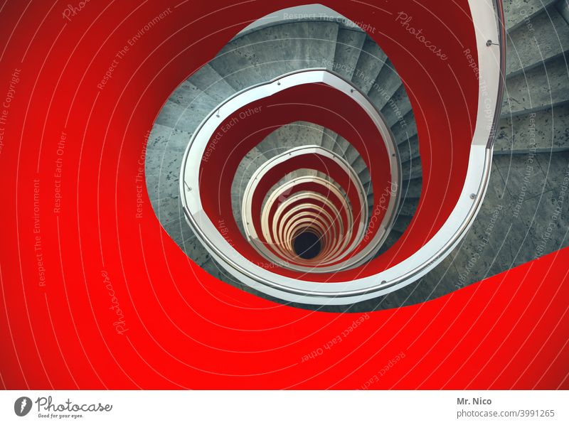 12th floor Stairs Architecture Round Spiral Hollow Perspective Staircase (Hallway) Apartment Building Red stagger Gyroscope Structures and shapes Spirited