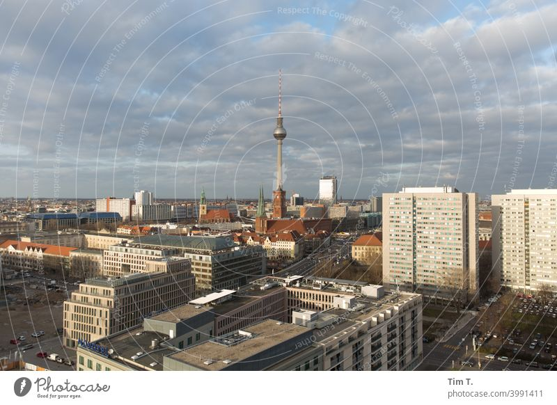 Skyline Berlin East Architecture Modern Capital city Downtown Berlin City Germany House (Residential Structure) New building Copy Space Deserted Clouds