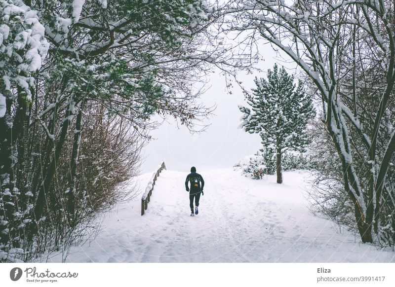 Now hurry... | jog up the snow-covered mountain. Jogging Hill Snow Winter Sports Walking Runner Jogger Running sports Cold snowy snowed over Athletic Fitness