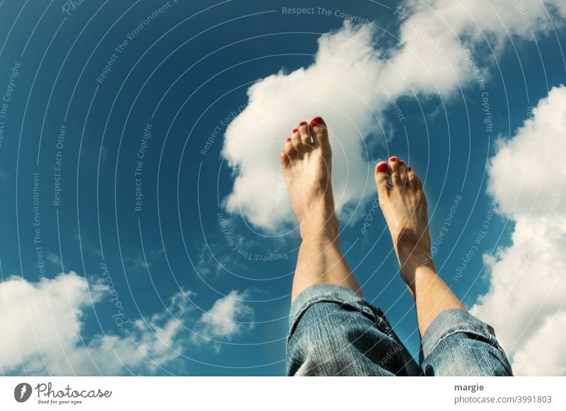 Like walking on clouds!  Feet point to the sky Feet up Legs Barefoot Woman Toes feet Summer Exterior shot Nail polish Human being Feminine Women`s feet Skin