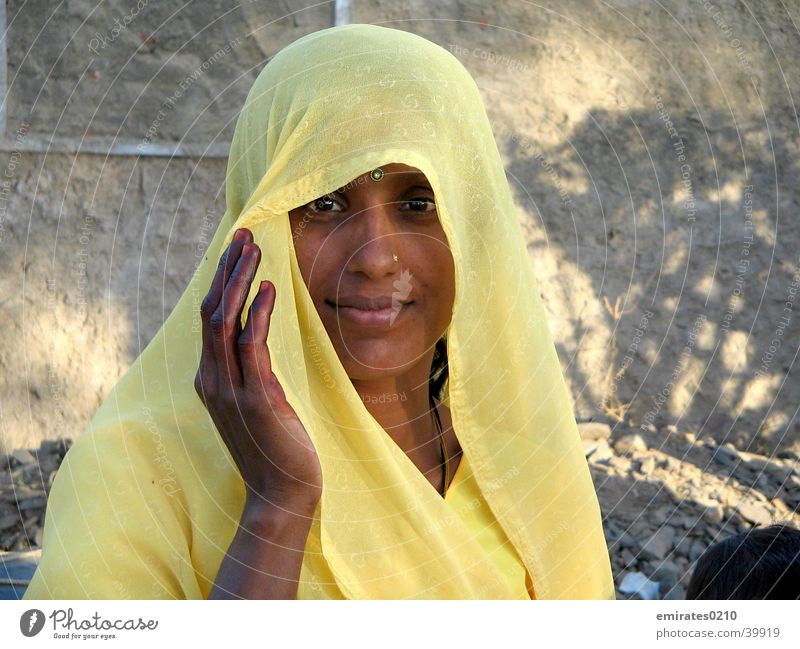 Mysteries of India Woman Sari Yellow Mysterious Face Looking Eyes Beautiful