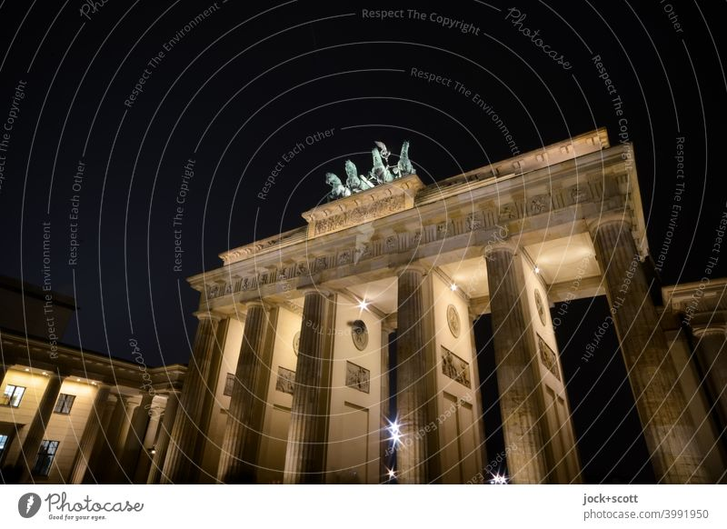 Brandenburg Gate illuminated at night Landmark Tourist Attraction Capital city Historic World heritage Early classical period Light (Natural Phenomenon)