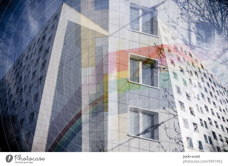 Separate double with a refurbished prefabricated building Facade Decoration Rainbow Cladding Structures and shapes Lichtenberg Berlin Prefab construction