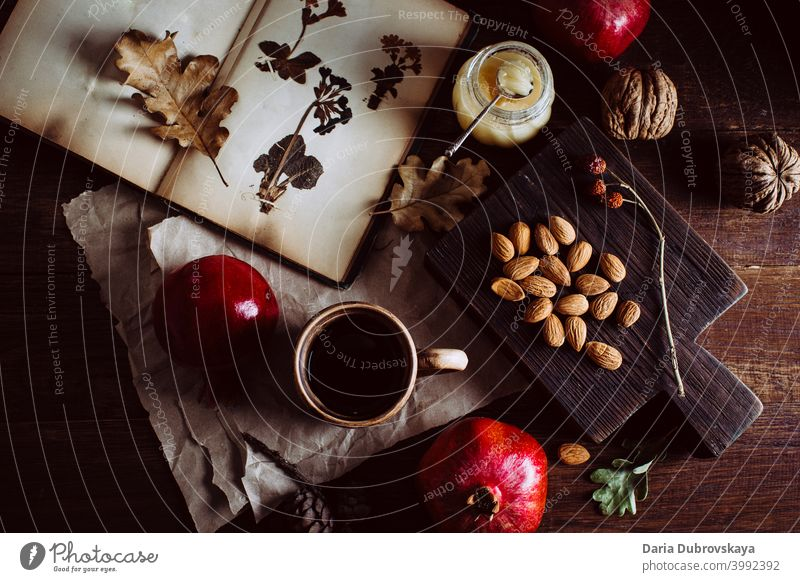Book with herbarium nuts and fruits on the table food vintage background dry season composition cozy blanket fall holiday decoration fresh orange vegetarian
