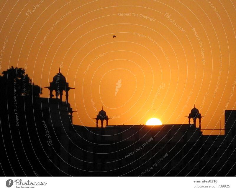 Sun Black Yellow Colour Building Orange Tower India