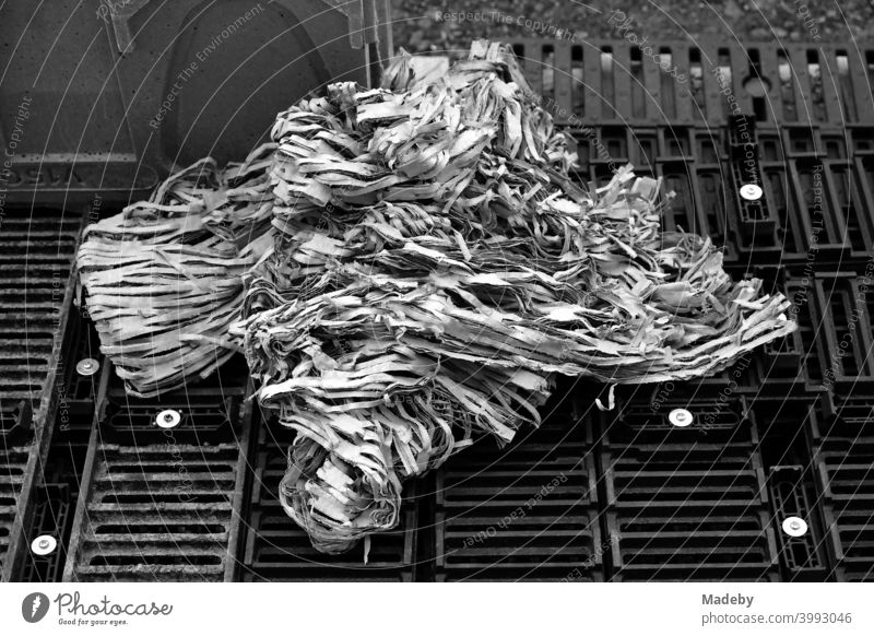 Paper balls made of paper strips on gridded pallets on a construction site in the capital Berlin, photographed in classic black and white waste Trash