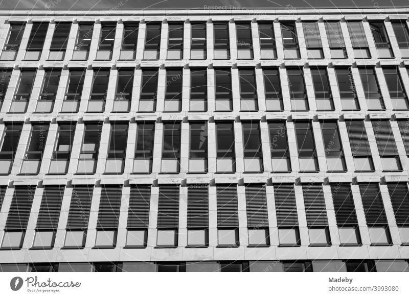 Office building with narrow windows and blinds as sun protection in summer sunshine in the West End of Frankfurt am Main in Hesse, photographed in classic black and white