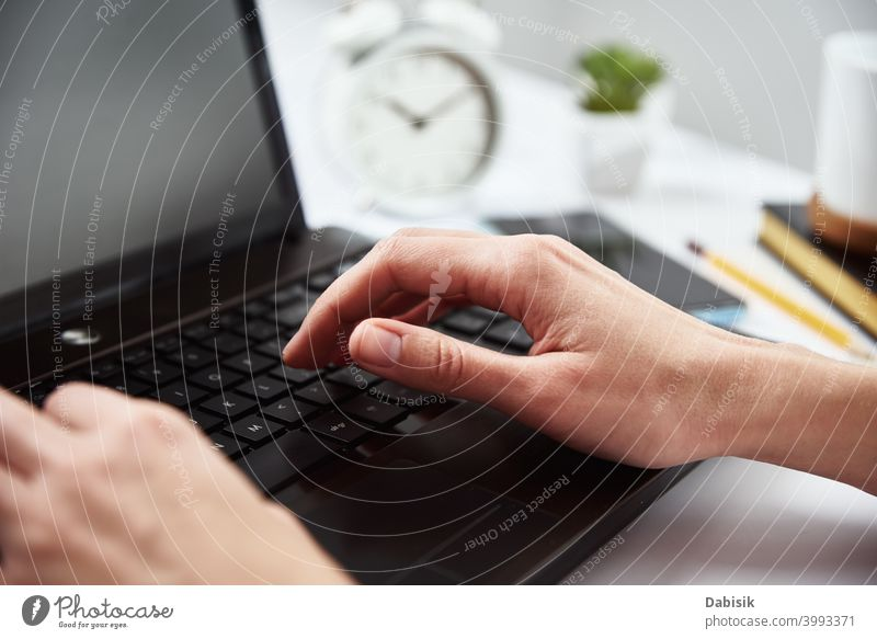 Woman type on laptop keyboard. Freelance and remote work freelance woman business learning notebook computer idea organization creative online planning internet