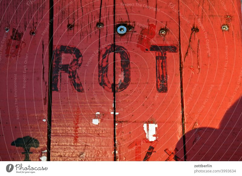 red Red Colour surface door Table Tabletop letter writing typo typography Lettering Screw screwed Seam crack