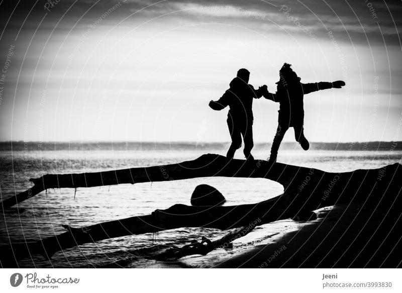 Together we can do it, let's just join hands | Two children jump down from a fallen tree trunk at the seashore | strong contrast in black and white, so that hardly more than the silhouette can be seen