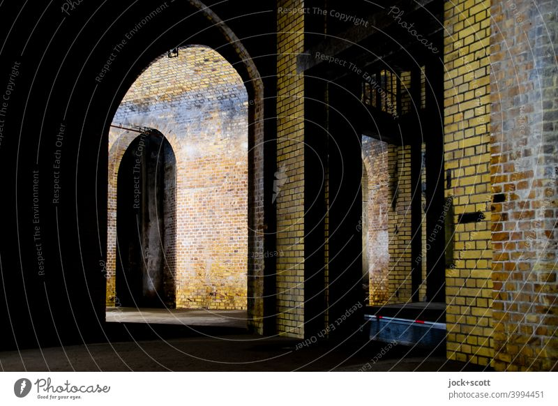 Underground vaulted hall Architecture Manmade structures Brick Structures and shapes Light (Natural Phenomenon) Artificial light Masonry Subsoil Vault Historic