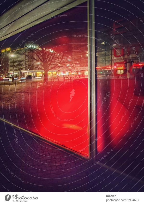downtown Berlin Shop window Reflection Night clearer city House (Residential Structure) Red Dark Colour photo Shadow Street