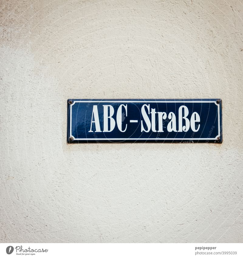 ABC Street Sign street sign Signs and labeling alphabet Alphabetical Signage Characters Letters (alphabet) Deserted Typography Word Communication Language