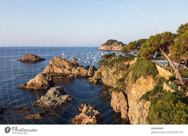 Landscape of Costa Brava shore, Catalonia, Spain aerial bay beach beautiful beauty brava catalonia city coast coastline copy space costa costa brava country