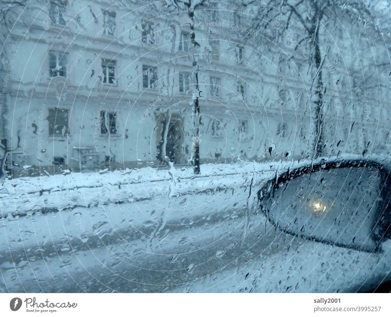 Winter in the city... onset of winter Transport Rear view mirror car exterior mirrors Road traffic Snow Wet Weather Bad weather visual impairment Street
