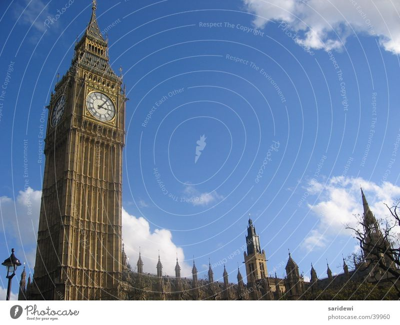 Sky Clouds Europe Tower Clock London England Bell Houses of Parliament Big Ben
