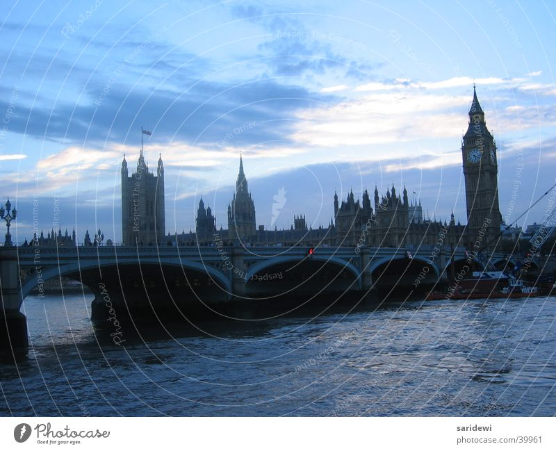 Thames London Big Ben Evening Themse Sunset England Europe Dusk Bridge