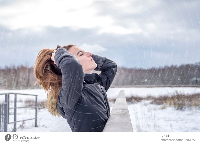 relaxed girl enjoys sun in winter Girl Winter Snow Forest Winter forest Sun Frost To enjoy sunbathe Cold persevere hairstyle chill Youth (Young adults)