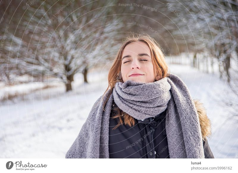 happy girl enjoys sun in winter forest Girl Winter Snow Forest Scarf Winter forest Sun Frost To enjoy sunbathe stroll To go for a walk Cold Tree chill