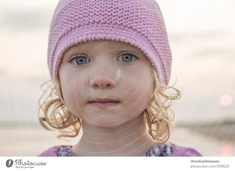 pink Child Girl Face 1 Human being 3 - 8 years Infancy Sky Summer Cap Woolen hat Blonde Curl Esthetic Near Natural Cute Beautiful Pink Emotions Moody Truth