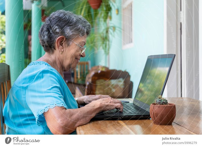 Elderly woman working with a modern laptop sitting retirement adult computer technology indoors old women typing holding communication using computer people