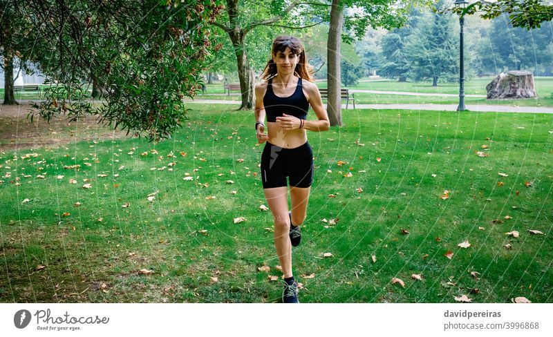 Female athlete running through a park runner woman training autumn sportswoman morning young female people fit healthy body exercise girl athletic fitness