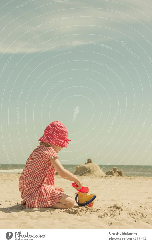 Child Vacation & Travel Summer Sun Ocean Red Girl Joy Beach Life Playing Happy Sand Bright Leisure and hobbies Infancy